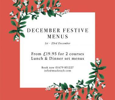 Festive Lunch & Dinner menus at Muckrach
